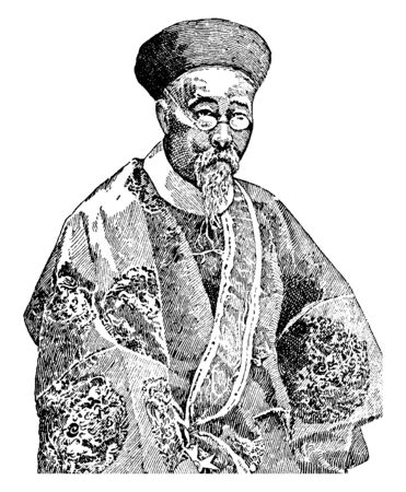 Li Hung Chang was the most enlightened Chinese statesman of the nineteenth century, vintage line drawing or engraving illustration.