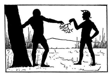 A man handing small tree branch to another man leaning against a tree, vintage line drawing or engraving illustration