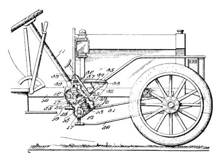 Auxiliary Steering Device is intended primarily for connecting the steering wheel to the steering mechanism by transferring the drivers input torque from the steering wheel, vintage line drawing or engraving illustration. Ilustrace