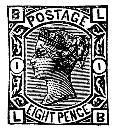 This illustration represents Great Britain and Ireland Eight Pence Stamp from 1876 to 1877, vintage line drawing or engraving illustration. Reklamní fotografie - 133359197