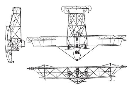 NC 4 Flying Boat has a 1600 horsepower engine, vintage line drawing or engraving illustration. 스톡 콘텐츠 - 132860626