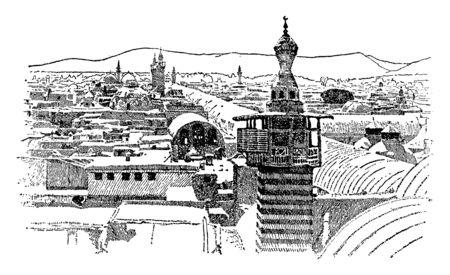 Damasco, donde se puede ver la calle llamada Recta comenzando en el primer plano derecho de la imagen y extendiéndose a través de la ciudad de este a oeste, dibujo de línea vintage o ilustración de grabado.
