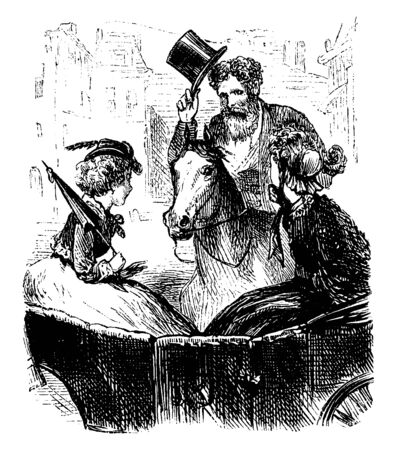 A man riding on horse and looking at two women sitting in carriage, vintage line drawing or engraving illustration