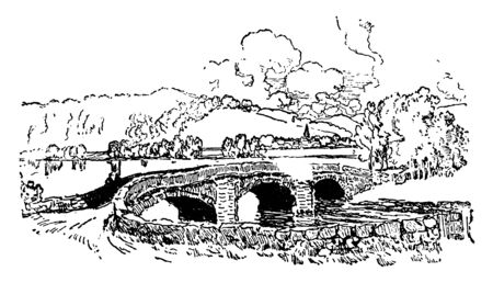 Arch Bridge is a bridge with abutments at each end shaped as a curved arch, vintage line drawing or engraving illustration.