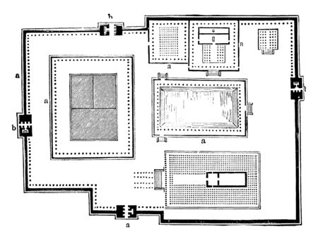 This image represents Ground Plan of the Pagoda at Chillimbaram, vintage line drawing or engraving illustration.