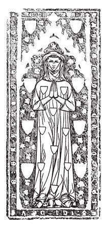 Monumental brass of Margaret de Camoys, 1310, vintage line drawing or engraving illustration
