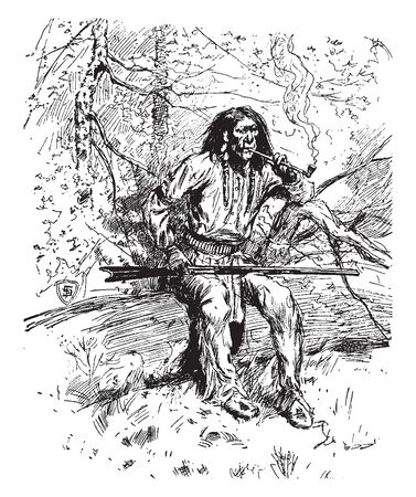 A warrior with gun from the Apache tribe, vintage line drawing or engraving illustration Vektorové ilustrace