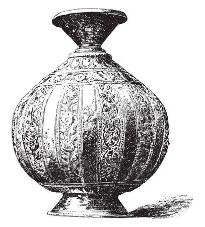 Lota es un recipiente de agua de los hindúes, línea vintage de dibujo o ilustración de grabado. Ilustración de vector