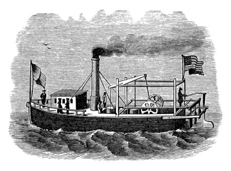 Fitch Steamboat was most famous for operating the first steamboat service in the United States, vintage line drawing or engraving illustration. Illustration