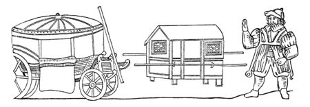 Coach and Sedan Chair is a form of transportation used during 17th century England, vintage line drawing or engraving illustration.
