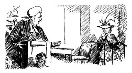 Un juge regardant une femme debout à la barre des témoins, un dessin de ligne vintage ou une illustration de gravure