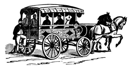 Philadelphia Firemen Ambulance is believed that the earliest use of ambulances occurred during the Civil War, vintage line drawing or engraving illustration.