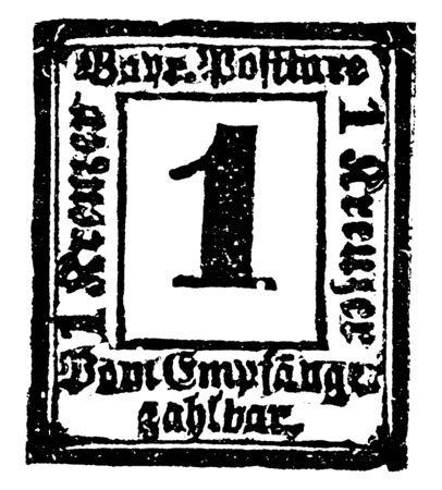 This image represents Bavaria Return Letter Stamp Unknown Value in 1865, vintage line drawing or engraving illustration.