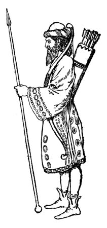 Persian Soldier Warriors was the name given by Herodotus to an elite heavily armed infantry unit, vintage line drawing or engraving illustration. Ilustrace