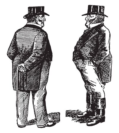 Two men standing nearby and looking at each other, vintage line drawing or engraving illustration Иллюстрация