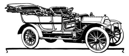 Great Arrow Touring Car in which four cylinder 40 45 horse power and seven passenger Great Arrow Touring Car, vintage line drawing or engraving illustration.