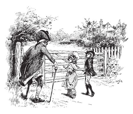 A man with stick talking to two children, vintage line drawing or engraving illustration