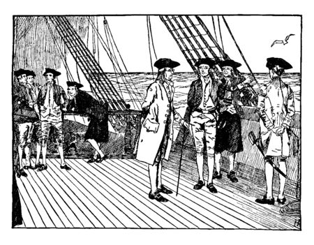 Benjamin Franklin on a ship on his way to France.,vintage line drawing or engraving illustration.