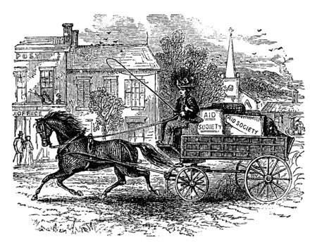 Carriage & Horse where a woman driving a horse and carriage, vintage line drawing or engraving illustration.
