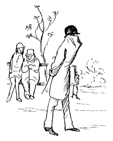 A man with his jacket pulled up around his face and walking, other two men looking at him, vintage line drawing or engraving illustration