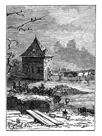Plague Pits at Finsbury which victims of the Black Death were buried, vintage line drawing or engraving illustration.