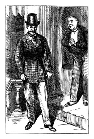 A man in top hat holding whip and another man looking at him, vintage line drawing or engraving illustration