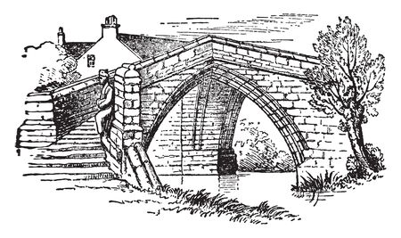 Croyland Bridge at Croyland was probably built for or by a religious body, vintage line drawing or engraving illustration.  イラスト・ベクター素材