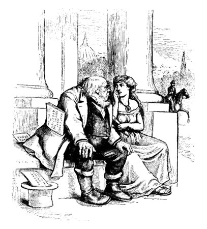 A woman showing her eye with hand to man sitting near her, vintage line drawing or engraving illustration
