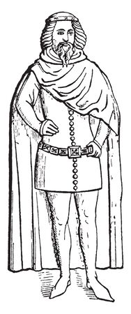 Duke of Clarence who also wears his mantle and a younder brother not now to be identified to consequence of his shield of arms, vintage line drawing or engraving illustration.