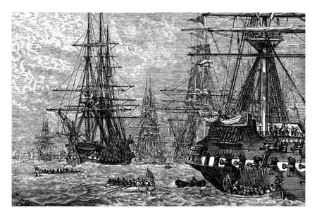 The British troops on their ships in the Lower Bay,vintage line drawing or engraving illustration.