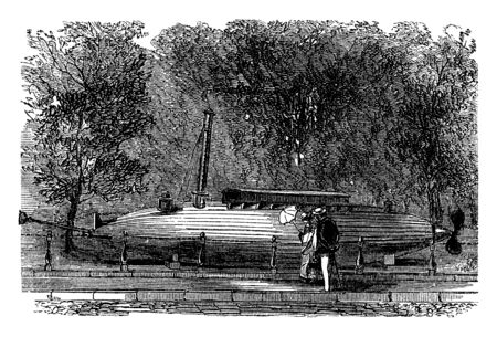 Torpedo Boat is a relatively small and fast naval ship designed to carry torpedoes into battle, vintage line drawing or engraving illustration. Çizim