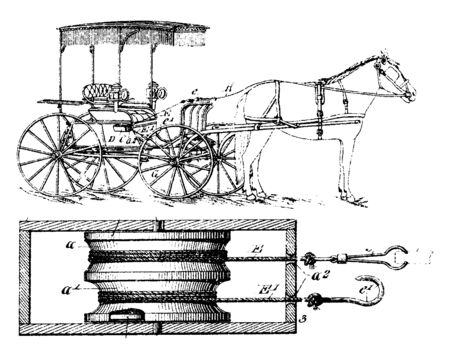 Safety Driving rein is a harness used to control and direct with a rein helps stop or slow up a horse by pulling on it, vintage line drawing or engraving illustration. Ilustração