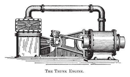 Ship Engine found in many 19th century ships equipped for battle or commerce, vintage line drawing or engraving illustration.