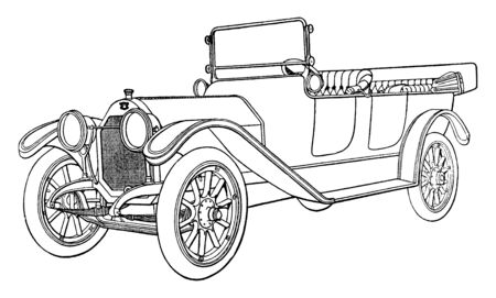 This image represents Building an Automobile Step 23 is Finished Car, vintage line drawing or engraving illustration. Illusztráció