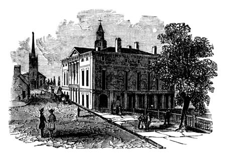 Federal Hall located at 26 Wall Street in New York City was the first capitol of the United States of America, vintage line drawing or engraving illustration.