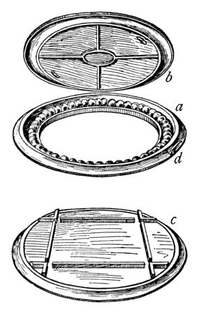 Railway Turntable is a device for turning railway rolling stock usually locomotives so that they can be moved back in the direction from which they came, vintage line drawing or engraving illustration.