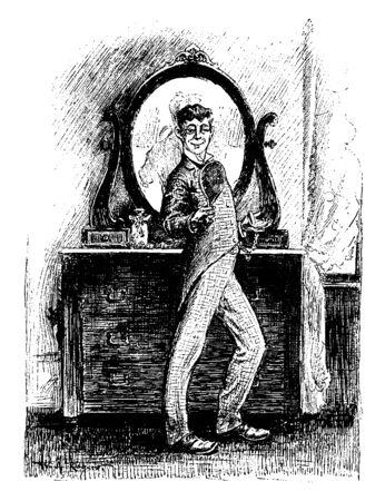 A man looking himself into hand mirror and big mirror behind him, vintage line drawing or engraving illustration Ilustração