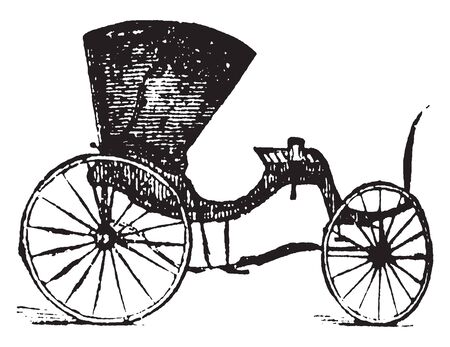 Cabriolet is a one horse pleasure carriage with a calash top a covering for the legs and seats for 2, vintage line drawing or engraving illustration.