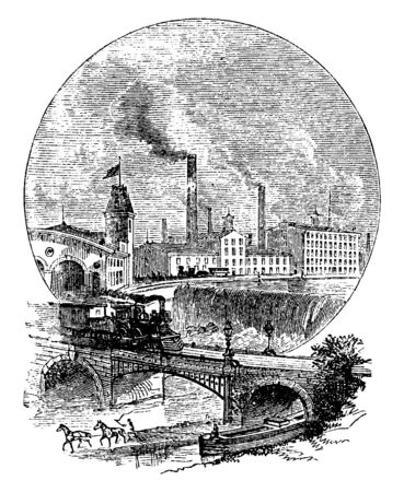 Factory near River & Train Tracks which is a factory set near a river with a train track on a bridge, vintage line drawing or engraving illustration.