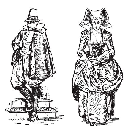 A man and woman in French attire, vintage line drawing or engraving illustration Illustration