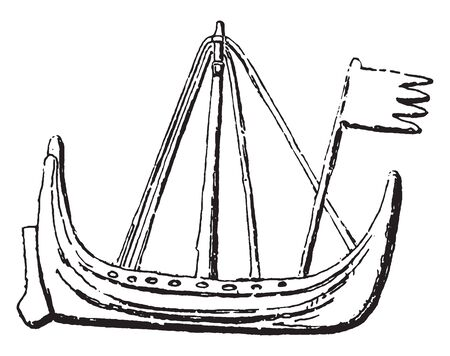 Danish Boat or Chiule preposterously long coastline is strung with a necklace of ports and harbors, vintage line drawing or engraving illustration.