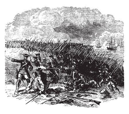 Batalla de Abraham Heights, guerra entre Francia y la India, línea vintage de dibujo o ilustración de grabado. Ilustración de vector