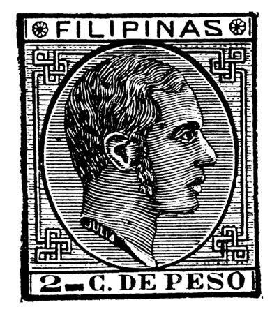 This illustration represents Philippine Islands 2 Centavos Stamp in 1880, vintage line drawing or engraving illustration. Reklamní fotografie - 133360269