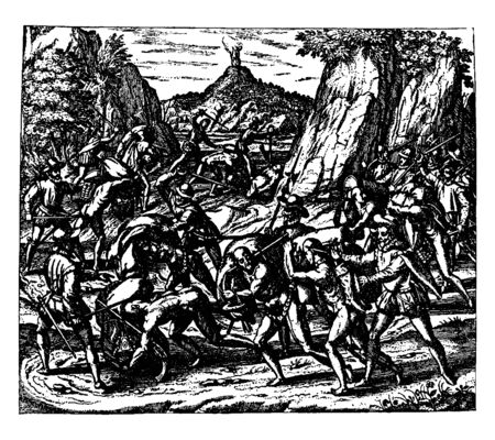 Murder and Mutilation of the Natives of Cuba by the Spaniards which is mutilation of the natives of Cuba by the Spaniards, vintage line drawing or engraving illustration. 일러스트
