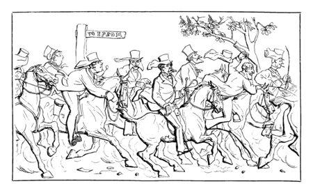 Group of men riding on horses, vintage line drawing or engraving illustration Illusztráció