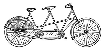 Tandem Bicycle is a form of bicycle designed to be ridden by more than one person, vintage line drawing or engraving illustration.