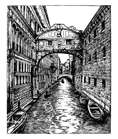 Bridge of Sighs is a bridge located in Venice northern Italy and the enclosed bridge is made of white limestone, vintage line drawing or engraving illustration.