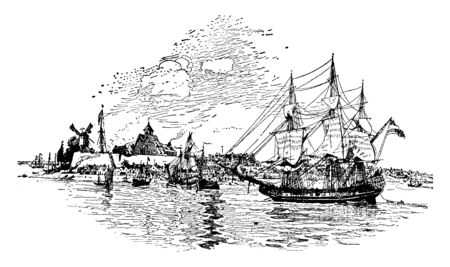 New Amsterdam is a 17th-century Dutch settlement established at the southern tip of Manhattan Island,vintage line drawing or engraving illustration. Stock Illustratie