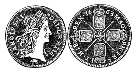 Guinea is an English gold coin of the value of 21 shillings, vintage line drawing or engraving illustration.