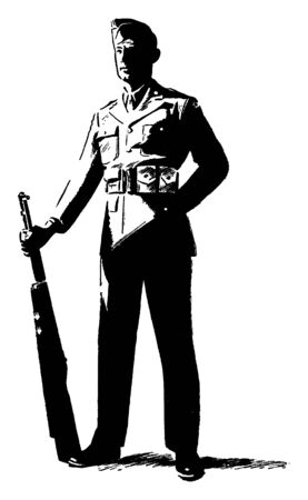 An army man with rifle, vintage line drawing or engraving illustration